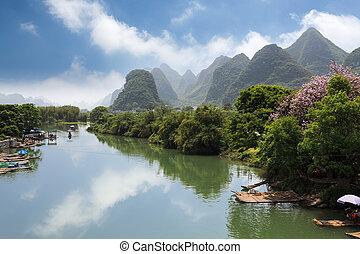 yangshuo yulong river - rural scenery in yangshuo yulong...