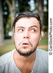 close up portrait of youg stylish man - close up portrait of...