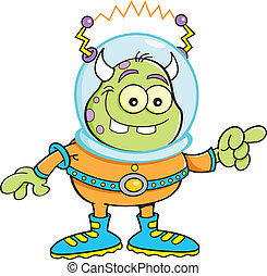 Cartoon alien pointing - Cartoon illustration of an alien...