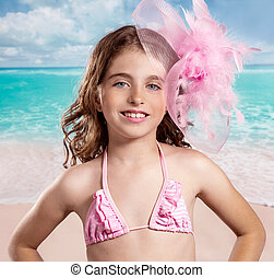 Children fashion girl in tropical turquoise beach vacations...