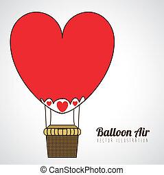 balloon heart design over gray background vector...