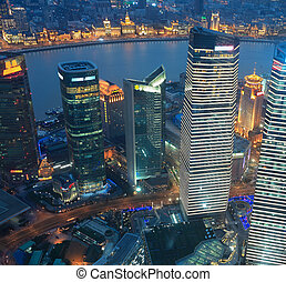 shanghai lujiazui business center at night - aerial view of...