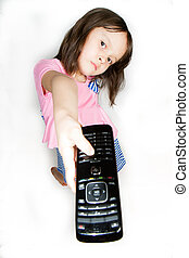 Asian girl with remote control