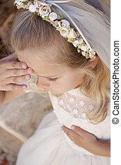 niña, primero, santo, comunión