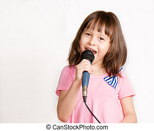 Asian girl singing with mic