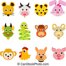 Twelve Chinese Zodiac animals - A set of colorful and cute...