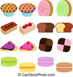 Sweet Cake, Cupcake, Pie, Macaron - vector Icons : Cute...