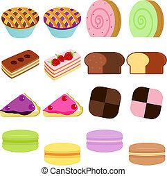 Sweet Cake, Cupcake, Pie, Macaron - vector Icons : Cute...