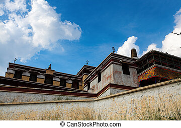 lamaism temple under the blue sky in inner mongolia