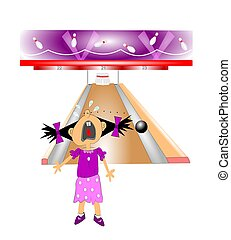 gutter ball concept - young girl crying after throwing...