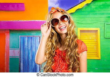blond children happy tourist girl smiling with sunglasses -...