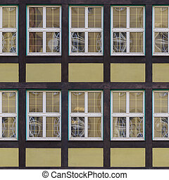 seamless fachwerk wall with windows texture - Windows of old...