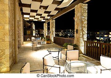 The lobby in luxury hotel in night illumination, Peloponnes,...