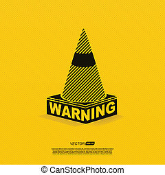 warning symbol - vector illustration on yellow background