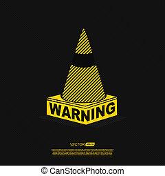 warning symbol - vector illustration on black background