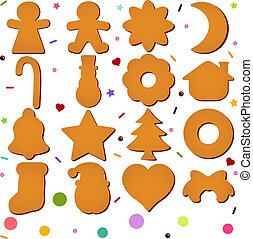 Blank Christmas Gingerbread - A set of Vector Icons : Blank...
