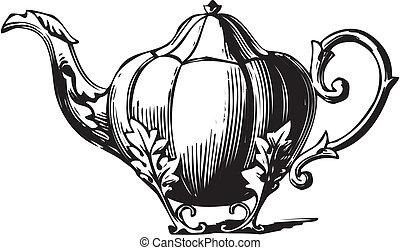 Weinlese, teapot-vector