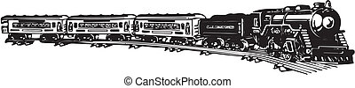 old steam train - Vector black and white illustration of old...