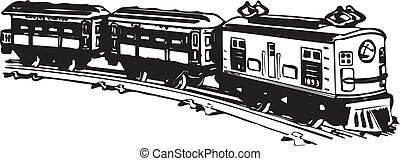 Old steam train. - Vector black and white illustration of...