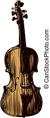Classical violin, isolated on white background. Vector...