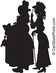 Illustration womans silhouette - Vector illustration of the...