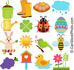 Spring Season Theme - A colorful set of cute Vector Icons :...