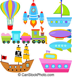 Boat / Ship / Aircraft Vehicles - A set of cute Vector Icons...