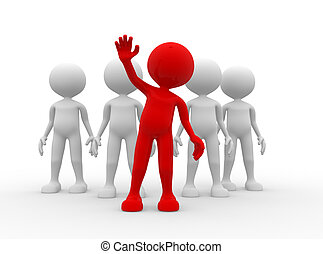 Leadership - 3d people - man, person in group Leadership