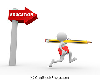 Education concept - 3d people - man, person with pencil and...
