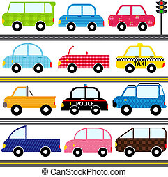 Car Vehicles Transportation - A set of cute Vector Icons :...