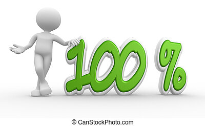 3d man and percent sign. 100%