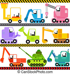 Tractor Engineering Vehicles - A set of cute Vector Icons :...