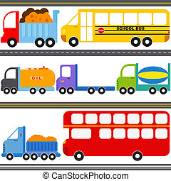 Bus, Truck Vehicles, Freight - A set of cute Vector Icons :...