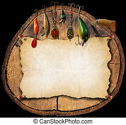 Fishing Tackle Background - Trunk - Artificial fishing bait...