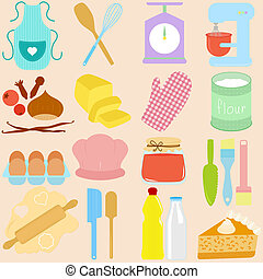 Baking Tools in Pastel - Vector collection of Cooking,...