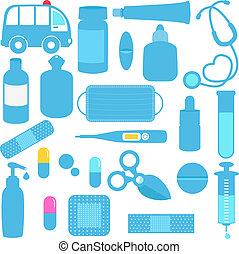 Medicines, Pills, Medical Equipment - Cute vector icons:...