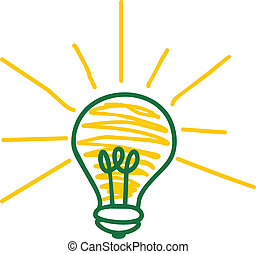 drawn light bulb representing an idea on a white background