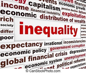 Inequality creative words concept. Discrimination message...