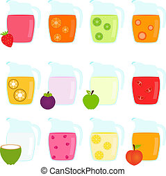 Jugs filled with Fruit Juice - Vector of Colorful Jugs...
