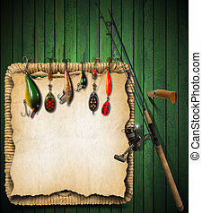 Fishing Tackle Green Wood Background - Green wooden...