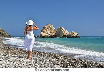 menina, praia, aphrodite, local de nascimento, Chipre