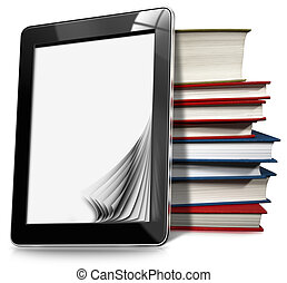 Tablet Computer with Pages and Books - Black tablet computer...
