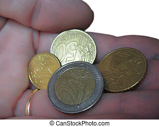 Euro coin and euro cents on the male hand