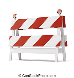 roadblock isolated on white background - roadblock isolated...
