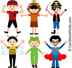 Young boys in cute costumes - A set of cartoon male kids,...