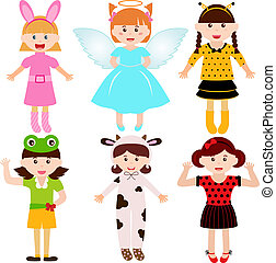 Young girls in cute costumes - A set of cartoon female kids,...