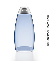 Blue shampoo bottle isolated on a white background