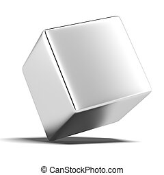 a solid metal cube isolated on a white background