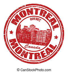 Montreal stamp - Red grunge rubber stamp with the name of...