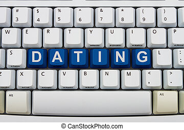 Finding love online - Computer keyboard keys with word...